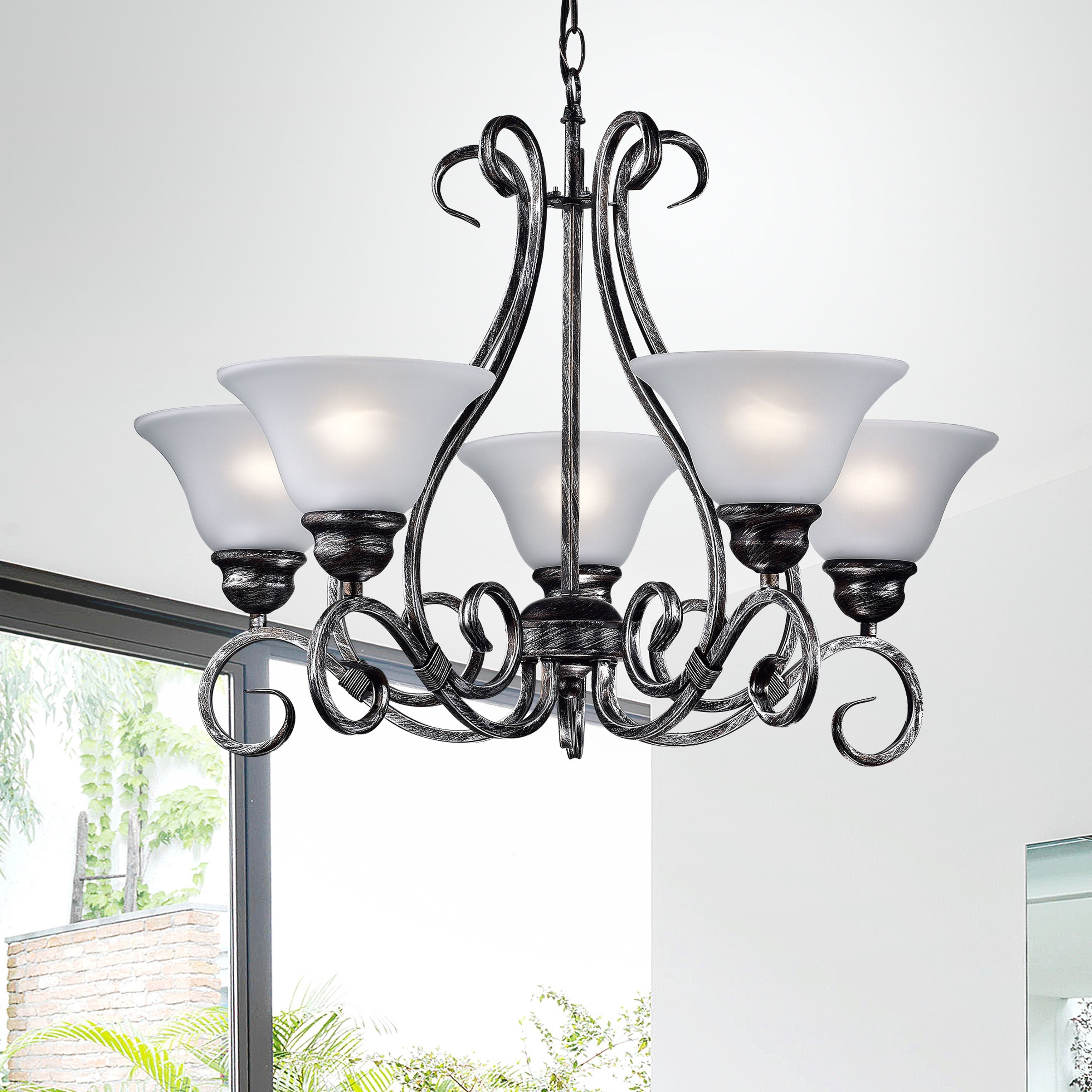 Iron 5 light Hanging Chandelier by The Lighting Store