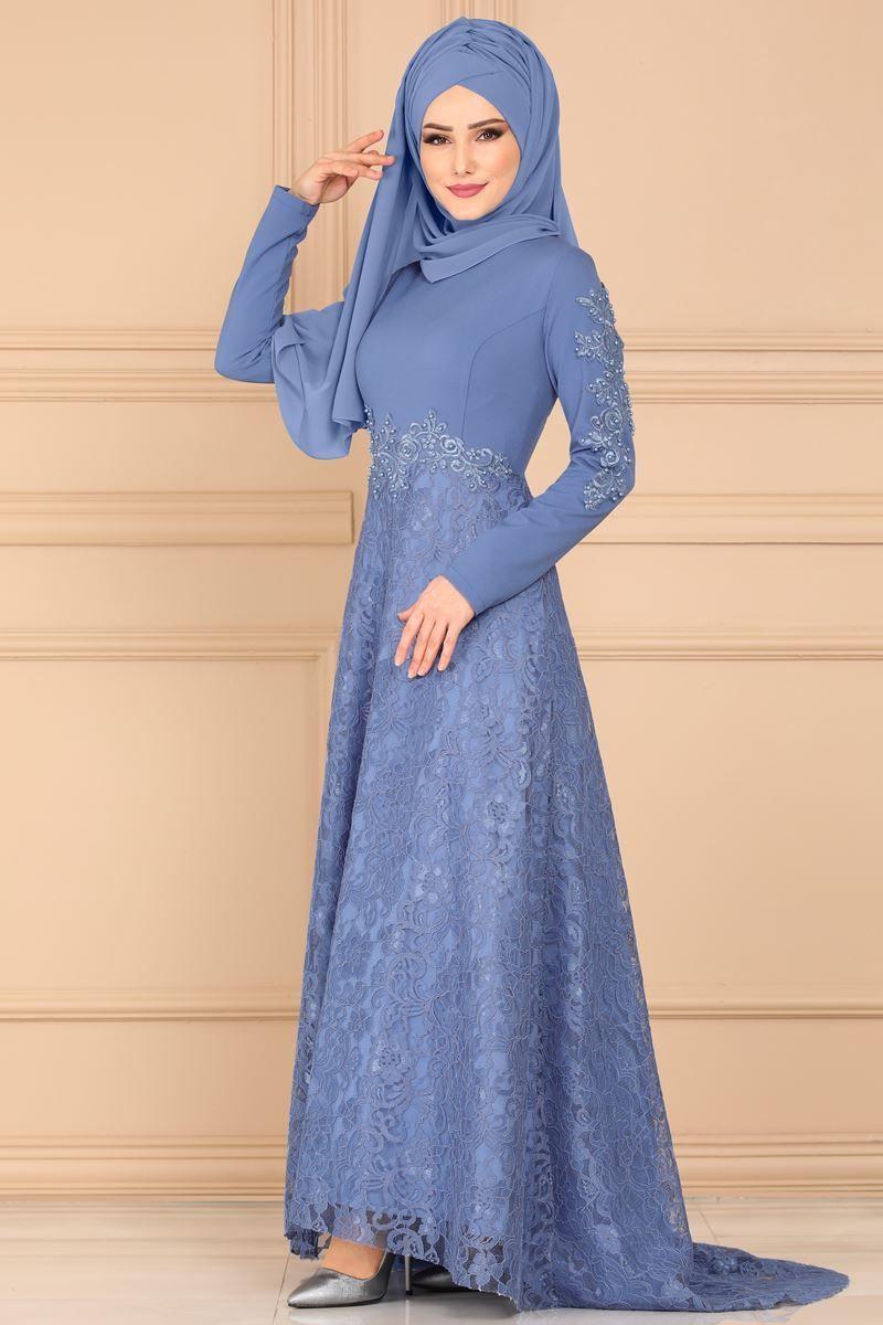 Modaselvim Abiye Dantelli Kuyruklu Abiye 5052ay342 Mavi Kiyafet Elbiseler Mavi Moda