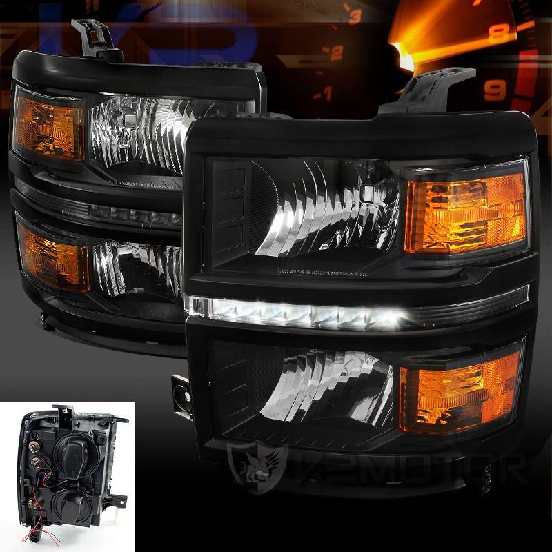 2014 2015 Chevy Silverado 1500 Headlights Black W X2f Built In Led Drl Strip Ebay Motors Parts Chevy Silverado 1500 2015 Chevy Silverado Chevy Silverado