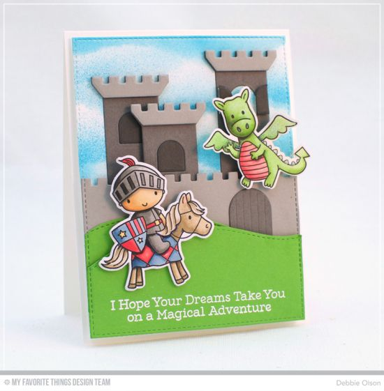 Knight In Shining Armor Stamp Set and Die-namics, Castle Die-namics, Stitched Scallop Basic Edges 2 Die-namics - Debbie Olson #mftstamps