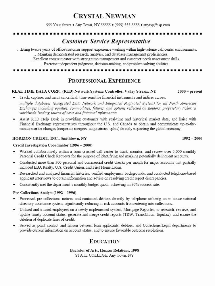 Call Center Customer Service Representative Resume New