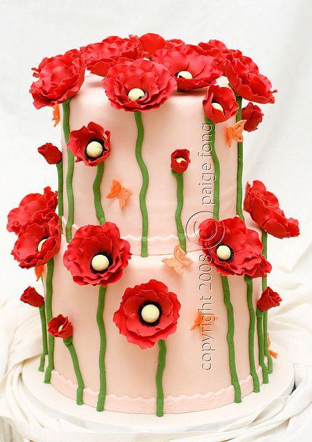 Redflowerscake02 by paige fong via flickr poppy fondant cake great redflowerscake02 by paige fong via flickr poppy fondant cake great for spring such cute mightylinksfo