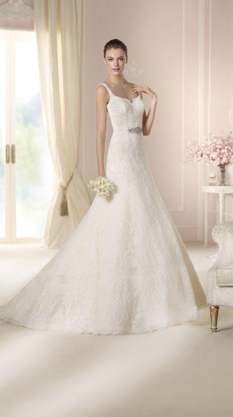 vestido de novia de white one (daryl), corte evasé, escote corazón
