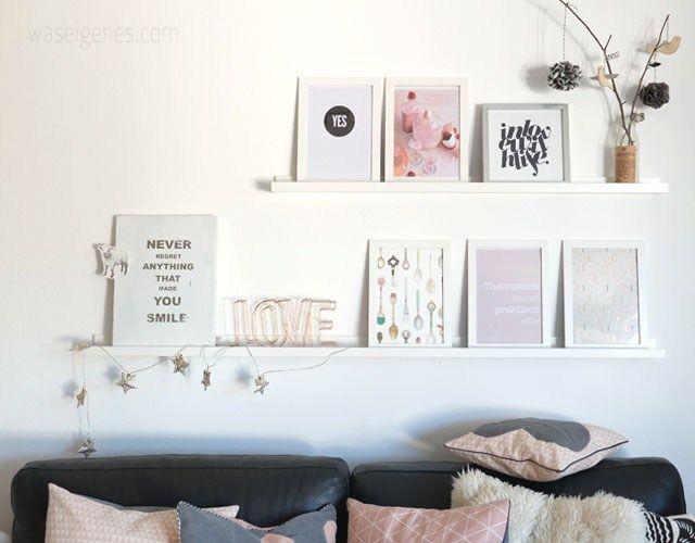 Unser Wohnzimmer mit neuen Farbtupfern  Regale  shelfes