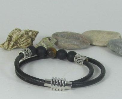 Mens Gemstone bracelets Men Mala Bracelet Men by EsraLeather