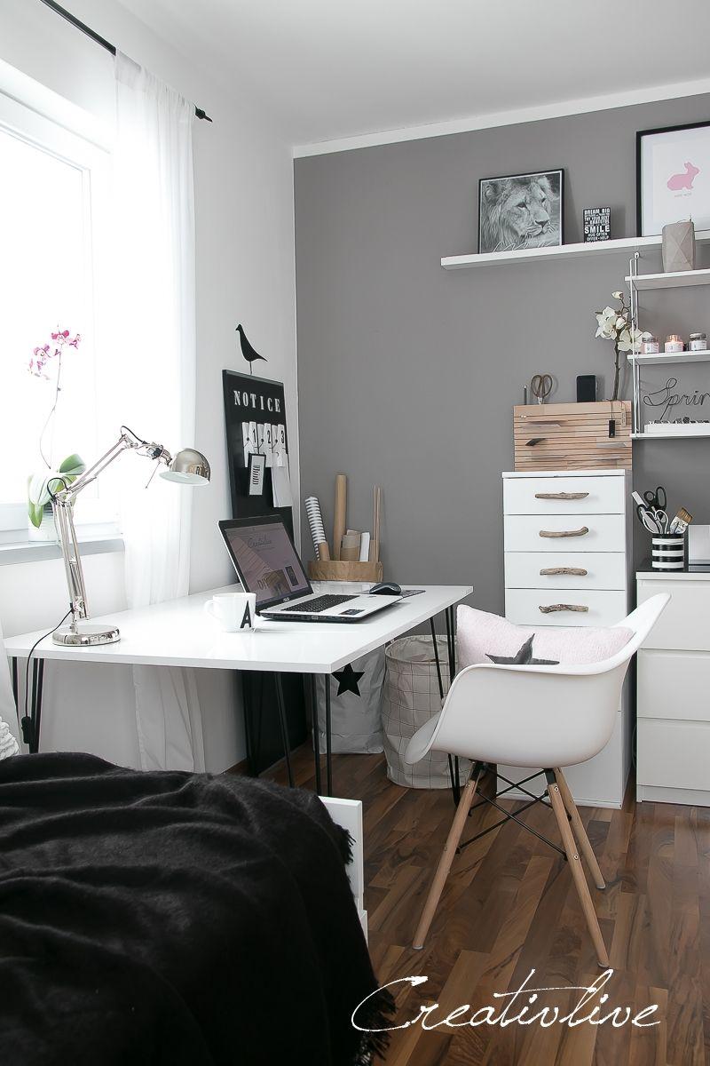 Arbeitszimmer make over und neuer tisch mit hairpin beinen einrichten wohnen arbeitszimmer - Arbeitszimmer wandfarbe ...