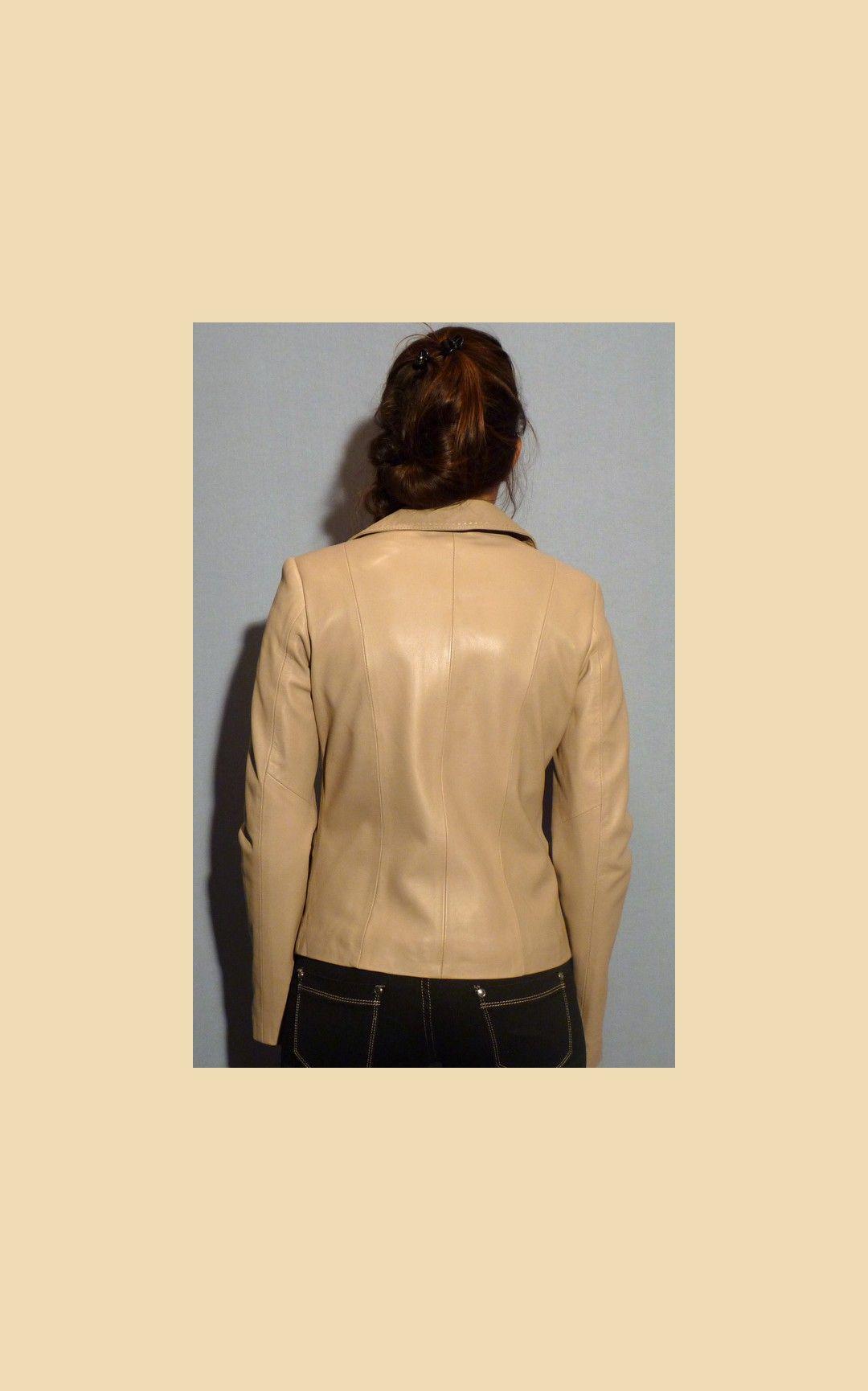 Veste en cuir agneau beige   Cuir   Cuir, Veste en Cuir, Vetement cuir 28a465c34bc