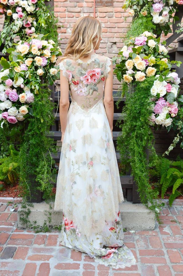 Totally, 100% obsessed with the floral wedding gown by Claire Pettibone!