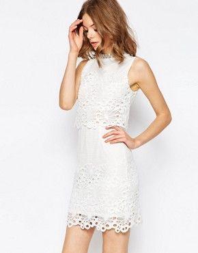 Asos Lace Cut Work High Neck Embellished Mini Dress My