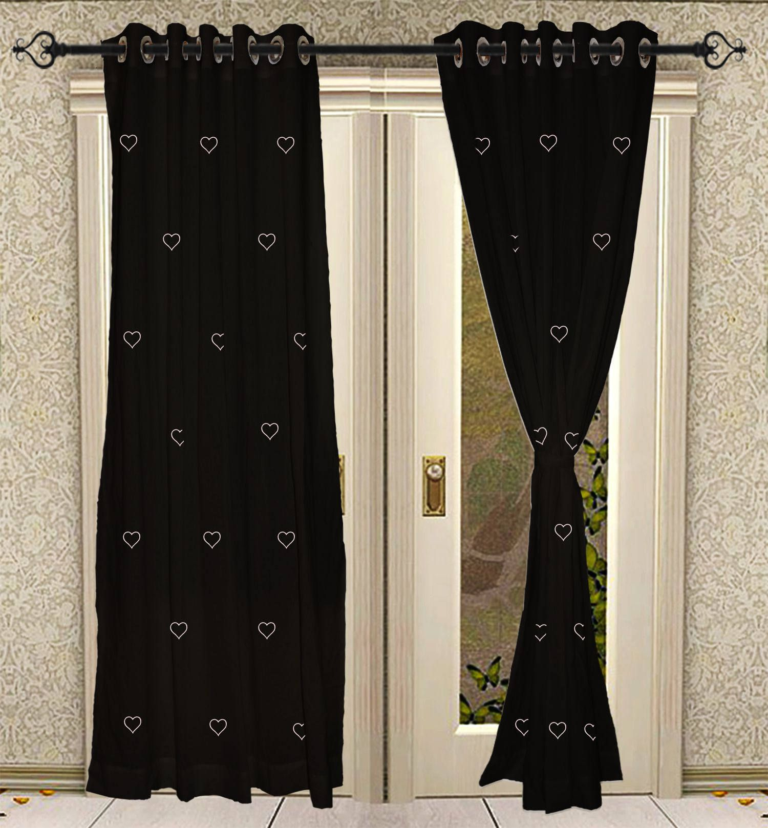 Black And Blue Curtains Black Eyelet Hand Black Printed Blue Door Window Treatments Drapes
