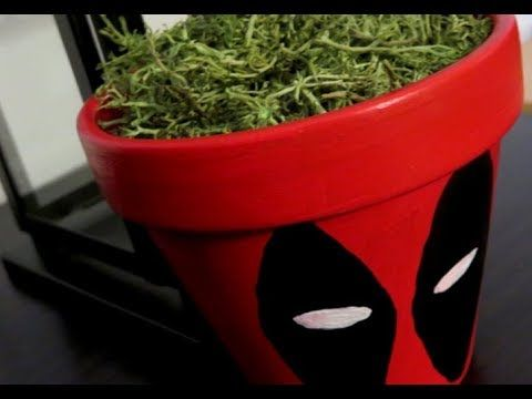 Deadpool 2 Diy Craft Handpainted Clay Pot For Shabby Chic Living