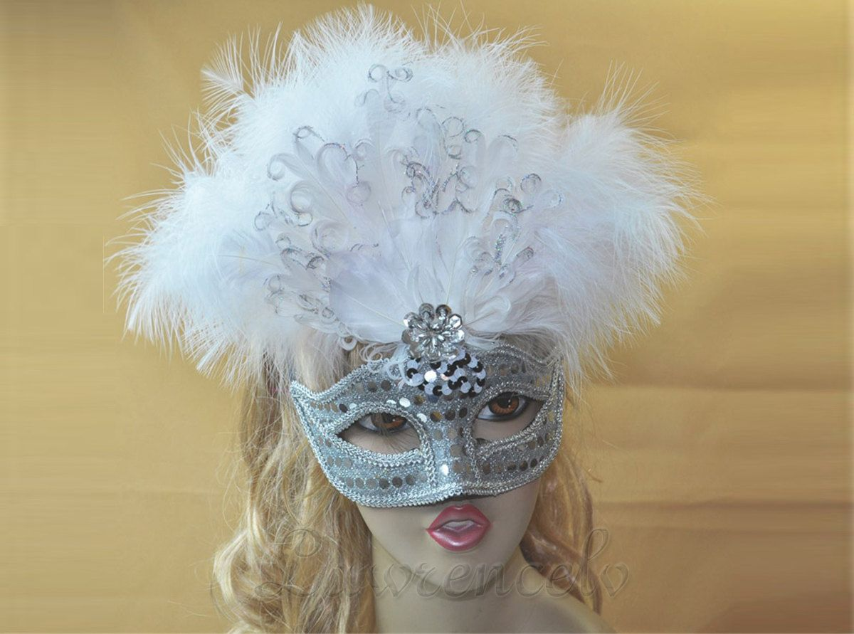 Venetian Carnival Masquerade Costume Party White Feather Mask. $16.99, via Etsy.