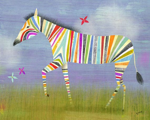 Bold Colourful Art Prints From Twoems Rainbow Zebra Rainbows - Artwork for kids rooms