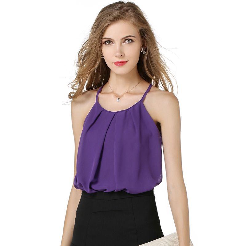 b81d278550a6 Nice Summer WoMen Fashion Camis T-shirt Chiffon Shirts Round Neck  Sleeveless T Shirts Plus Size S-XL