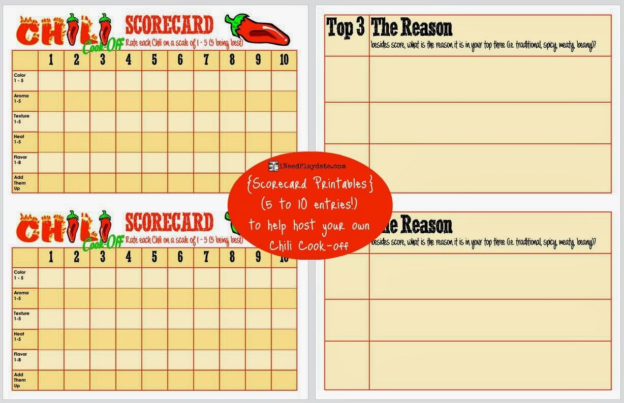Hosting A Chili Cook Off In 5 Easy Steps Scorecard Printable Free Chili Cook Off Cook Off Chili Party