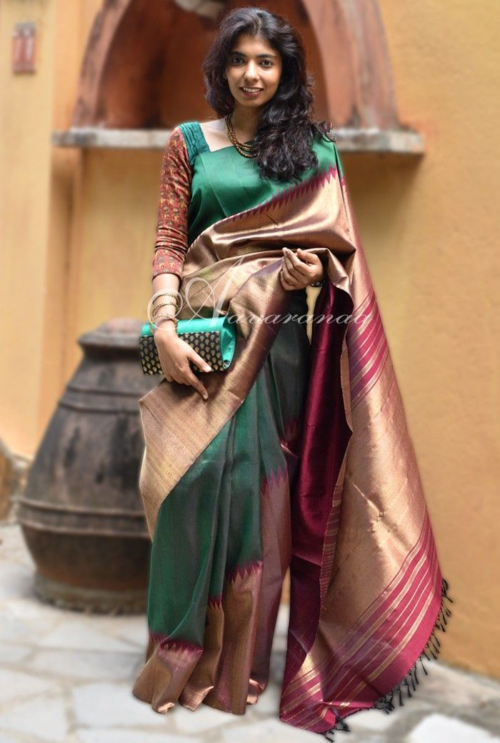 68a41592ca1951 Bottle green and maroon rising border kancheepuram silk saree in ...
