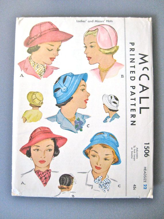 1940s vintage  hat pattern by McCall 1506.