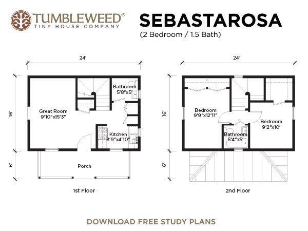 Tiny Home Designs: Tumbleweed Tiny Houses -- Sebastarosa Plan (2 BR, 1.5 BA