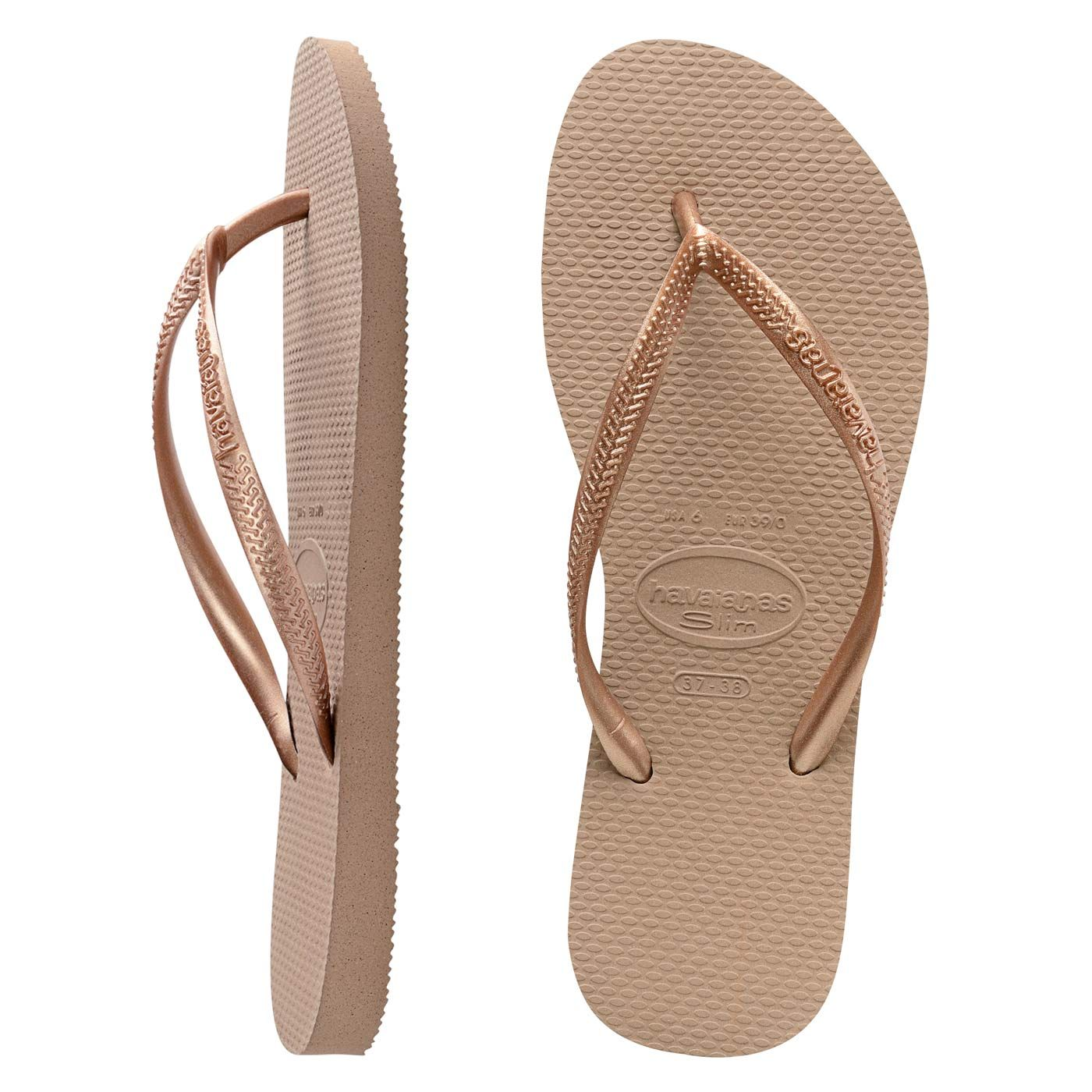 b6d0f4266 Havaianas Slim Metallic Rose Gold. Colour yourself happy in Slim Metallic  brights! Brazilian rubber slim Havaianas in fetching rose gold