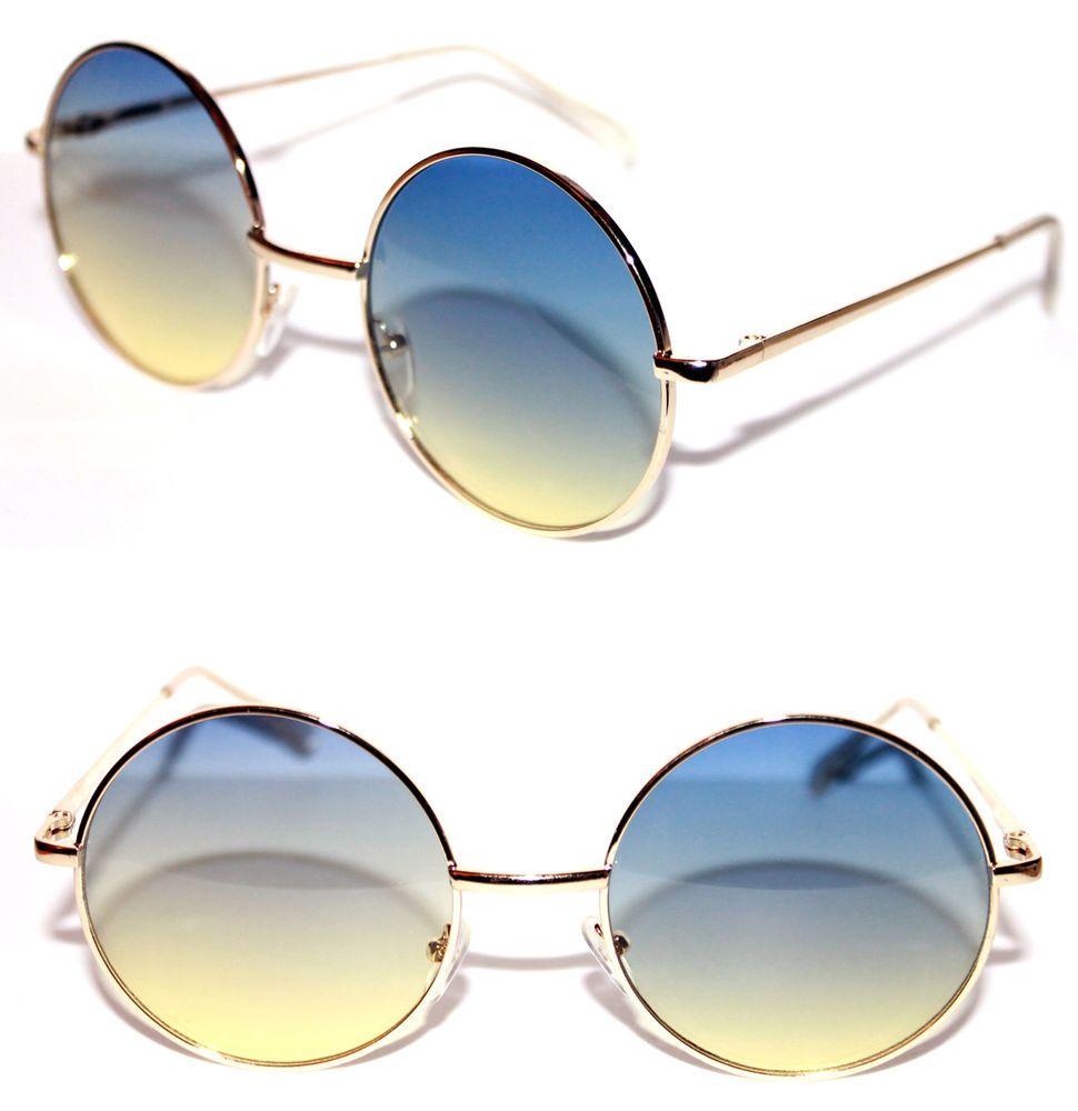 eac3cb76e Women's Round Shape Sunglasses two tone Gradient lens Blue Yellow Potter  Metal M #Stars #Round
