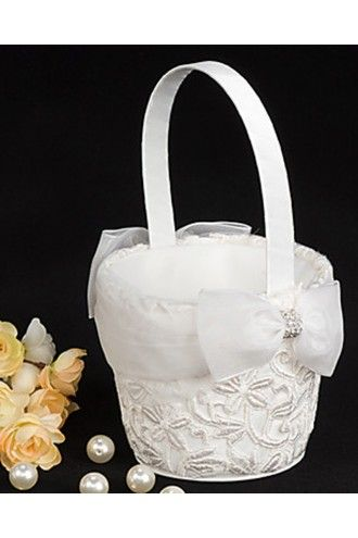 Flower Girl Basket in White Satin Lace with Bowknot