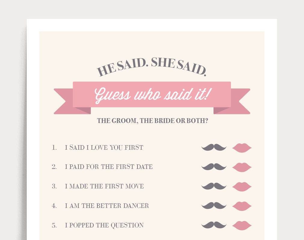 he said she said bridal shower game