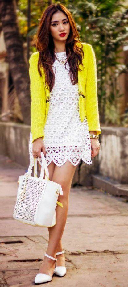White Lace Dress Canary Yellow Cardigan Dress Outfits