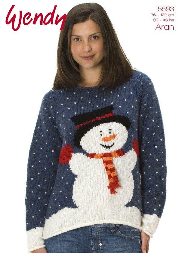 Christmas Snowman Jumper In Wendy Aran 5593 Christmas Dingen