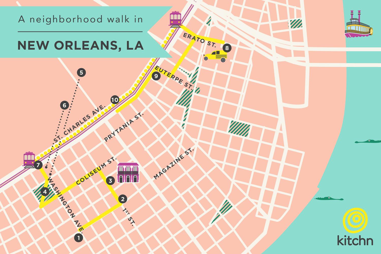 garden district new orleans walking tour map. A Lunch-to-Drinks Tour Of New Orleans\u0027 Garden District Orleans Walking Map