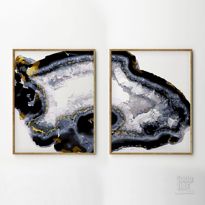 Agate Print Set Of 2 Wall Art Dining Room Decor Modern Print Gemstone Agate Slice Black Gold Abstract Art Natu Modern Prints Art Gallery Wall Blue Abstract Art