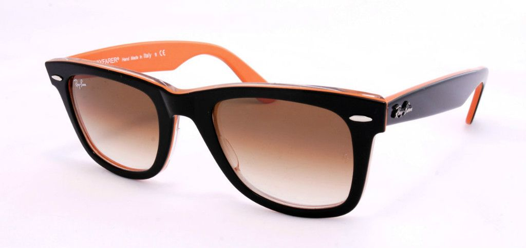 Ray Ban Wayfarer Rb 2140 100251 Black On Orange Medium 50 Rayban Wayfarer Ray Bans Wayfarer