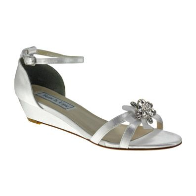 Low Wedges Heels Wedding Shoe   Tillie Dyeable White Satin Low Wedge ...