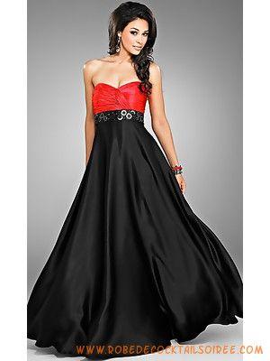 Robe de soiree longue noir et rouge