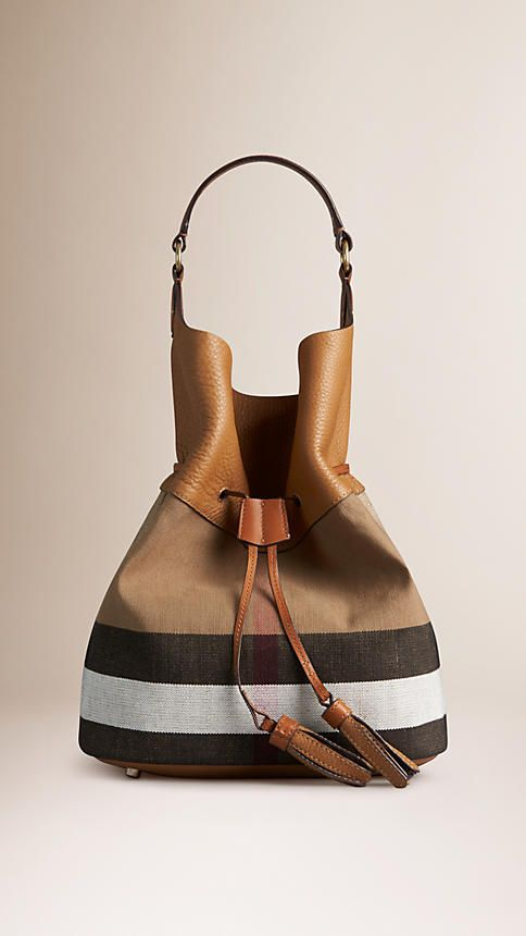 a4df7eddd825 Burberry Sand Saddle Brown The Large Ashby in Canvas Check and Leather -  The Ashby in Canvas check and grainy leather with detachable wristlet.