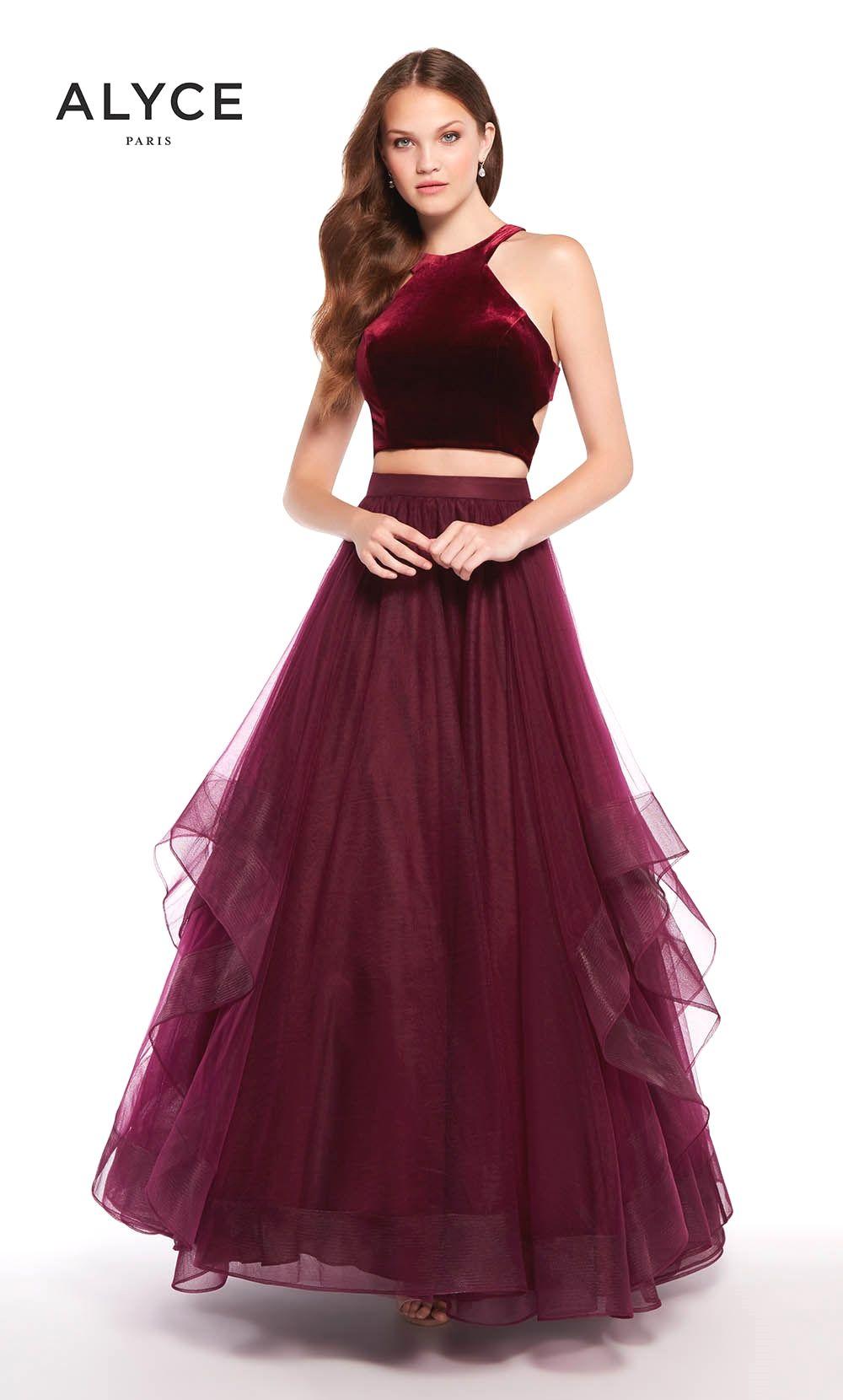 Alyce burgundy two piece prom dress designer prom dresses
