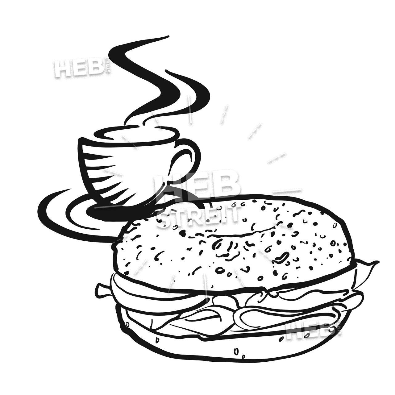 Coffee or tea with Bagel logo Coffee, bagel, Chalk art