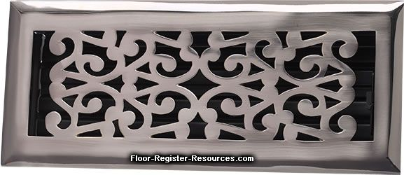 Zoroufy 4 X 10 Scroll Floor Registers   Antique Pewter