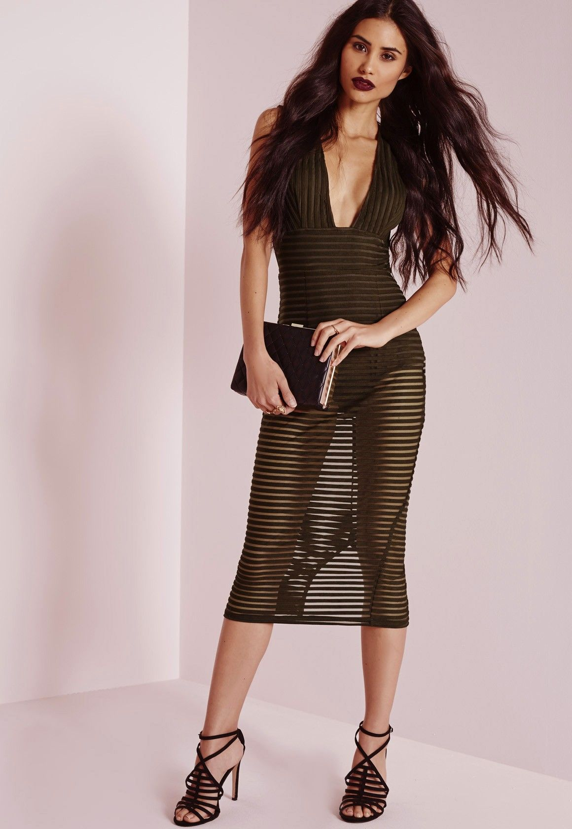 48ff48d9751f Missguided - Striped Burnout Midi Dress Khaki