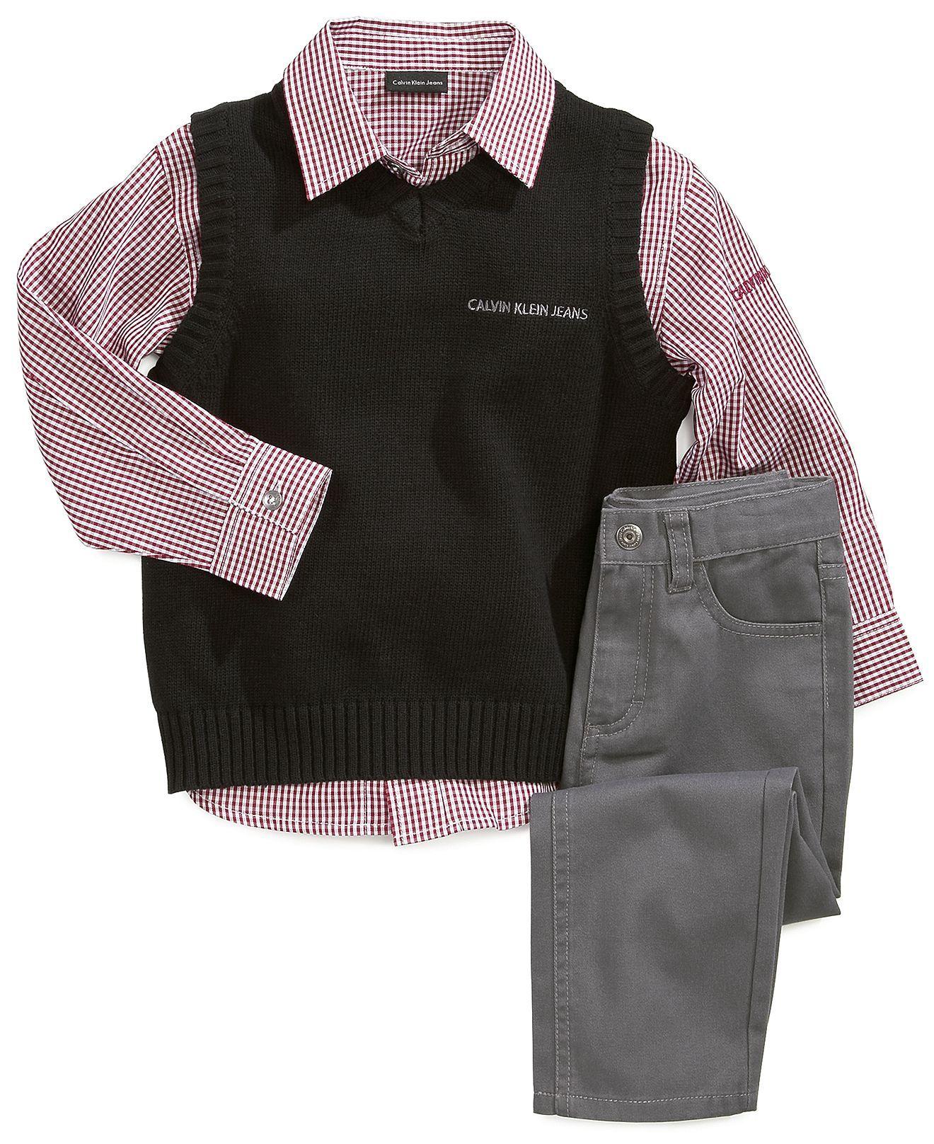 30a3527d875f Calvin Klein Baby Boys  3-Piece Vest
