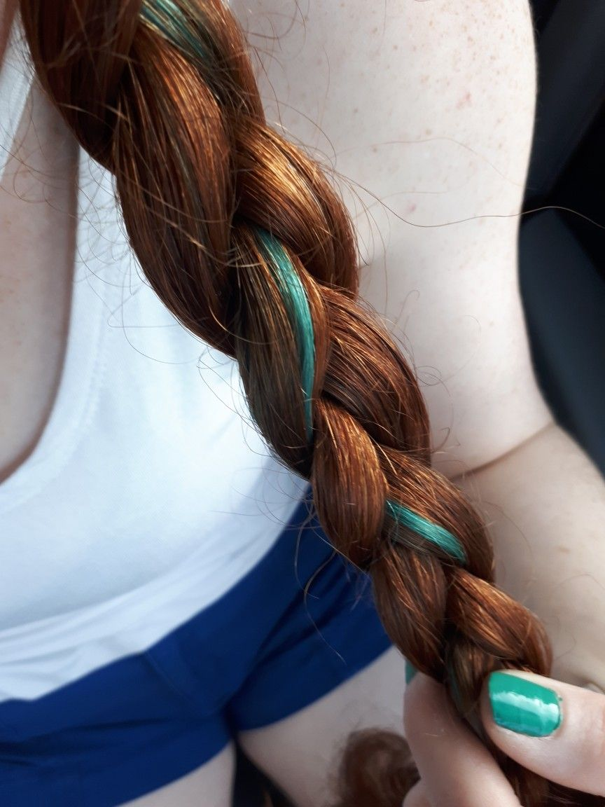 Natural Red Hair With Teal Streak With Images Teal Hair Color
