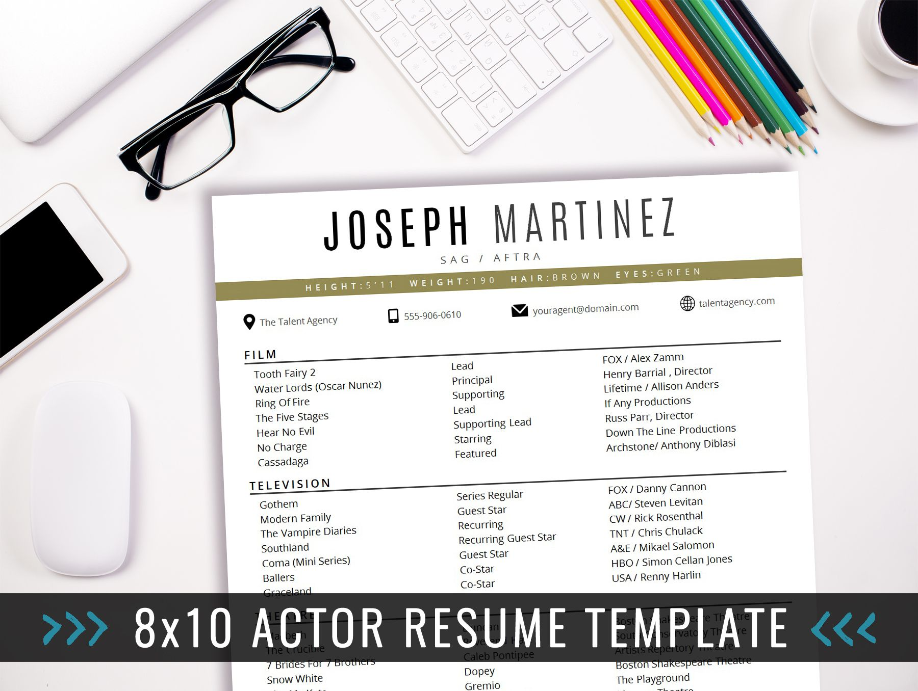 Acting Resume Format 8X10 Actor Resume Template  8X10 Actor Resume Template  Instant