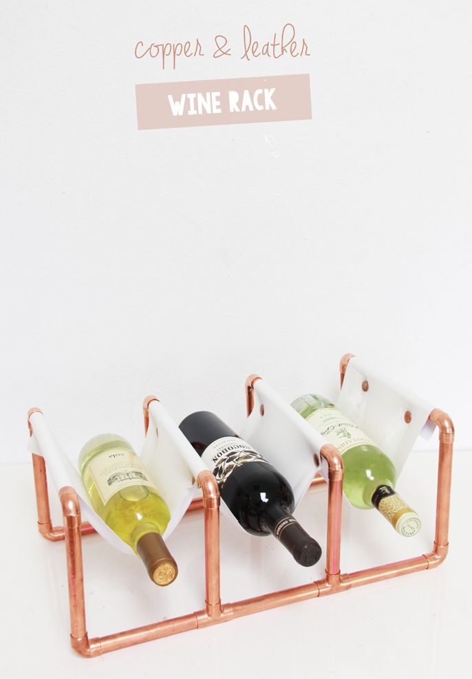 A Bubbly Life: DIY Copper Pipe & Leather Wine Rack @Abubblylife
