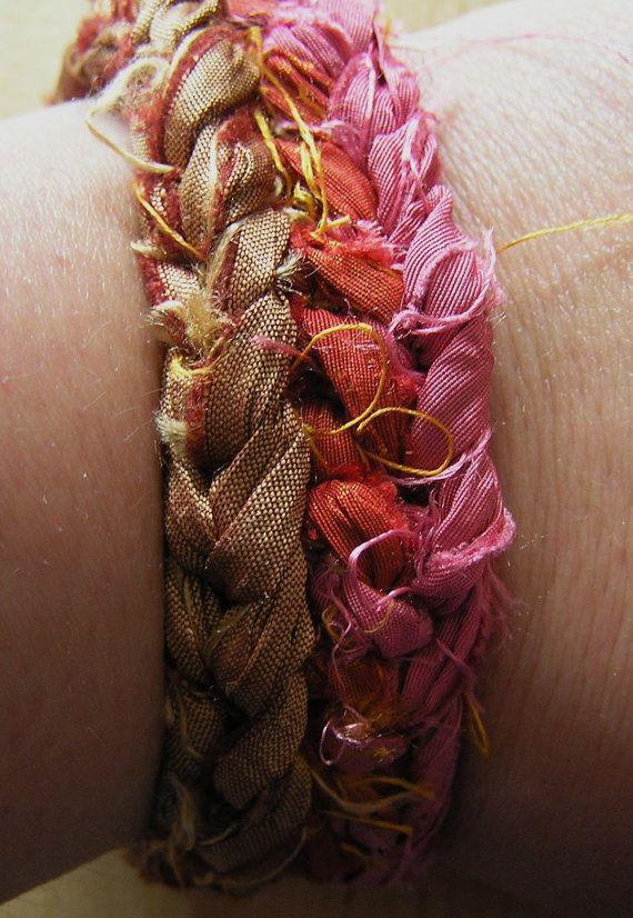 Crochet Sari Silk Bracelet Pink Golden Brown by BeadsStonesEtc, $12.00
