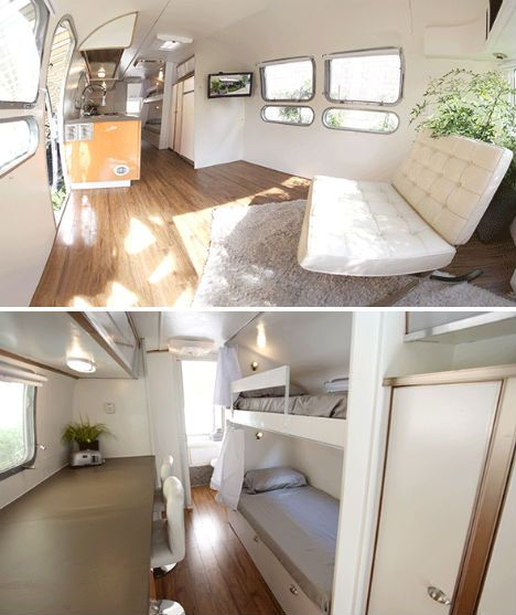 vintage airstream trailers remodeled into bright homes | airstream