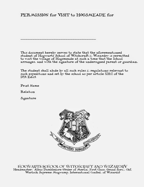 A Crafty Chick The Invitation Acceptance Letter Harry Potter - permission slip template