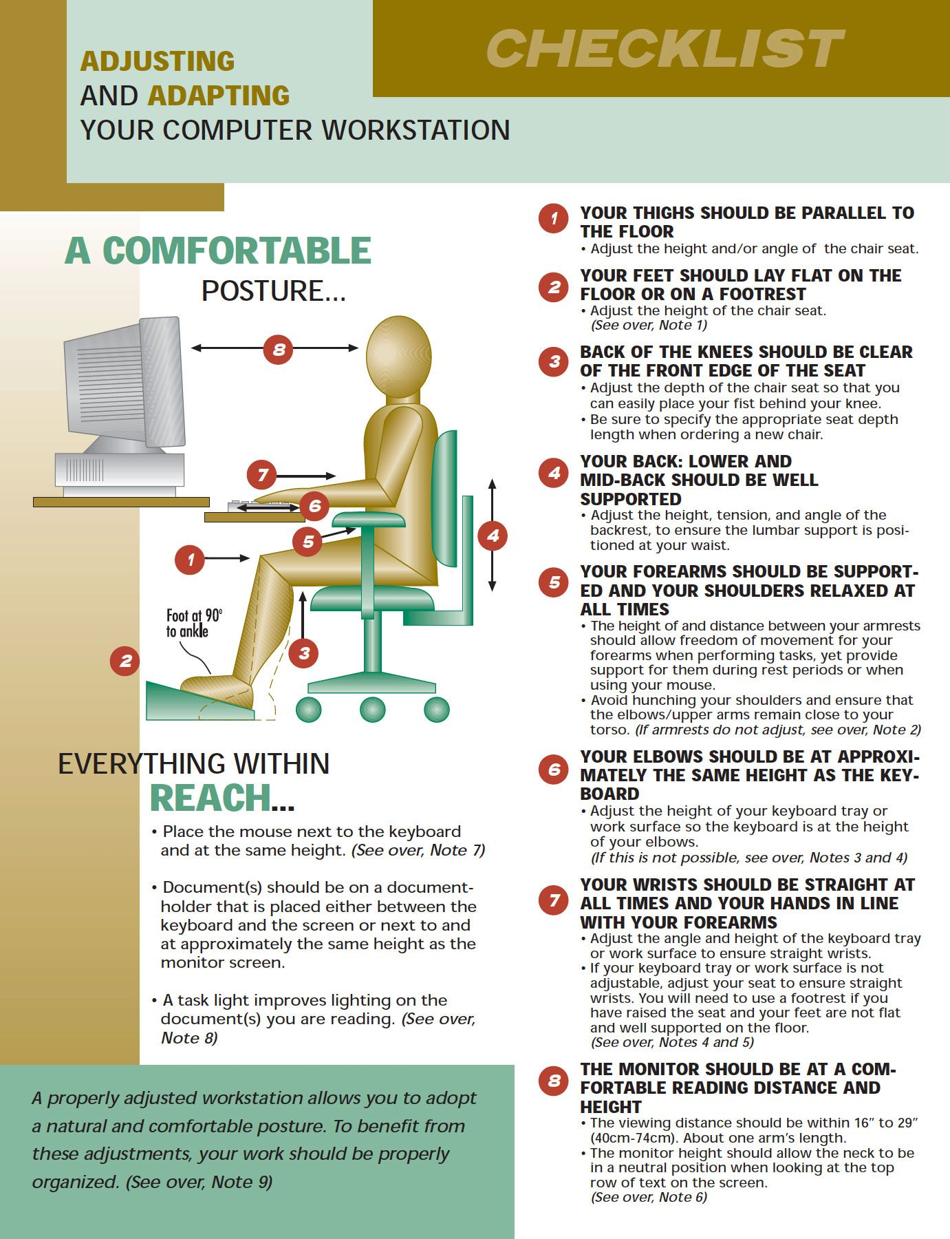 Workstation Checklist Computer workstation, In the
