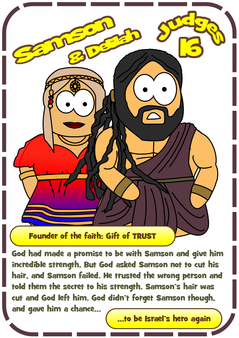 hero card for Samson and Delilah ( Judges 16) #Jesuswithoutlanguage ...