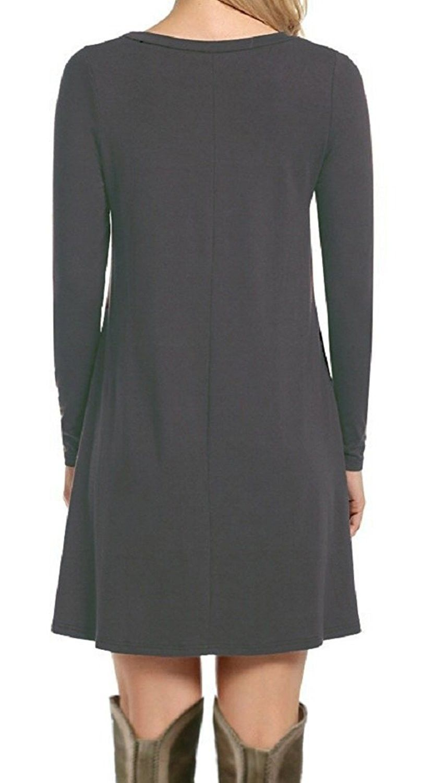 Womenus casual plain simple tshirt loose dress grey cuocx