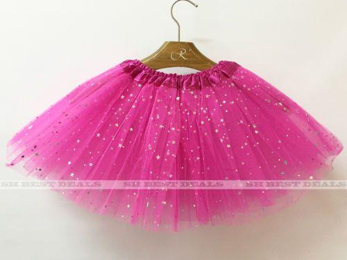 Girls Sparkle Sequins Glitter Stars Princess Dress Dance Ballet Tulle Tutu Skirt