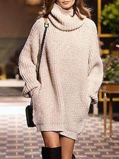 e41c18e2d71 Knitting High-neck Loose Sweater Tops